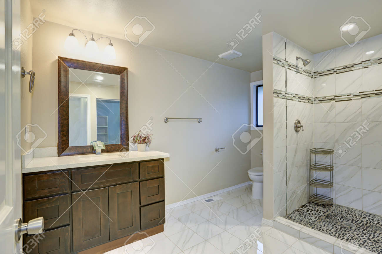 Bright Clean Bathroom Interior With Espresso Vanity Cabinet,.. Stock ...