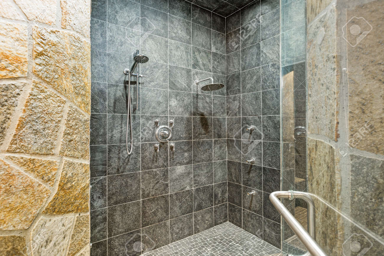 Luxurious Mansion Walk In Shower With Black Square Tiled Walls