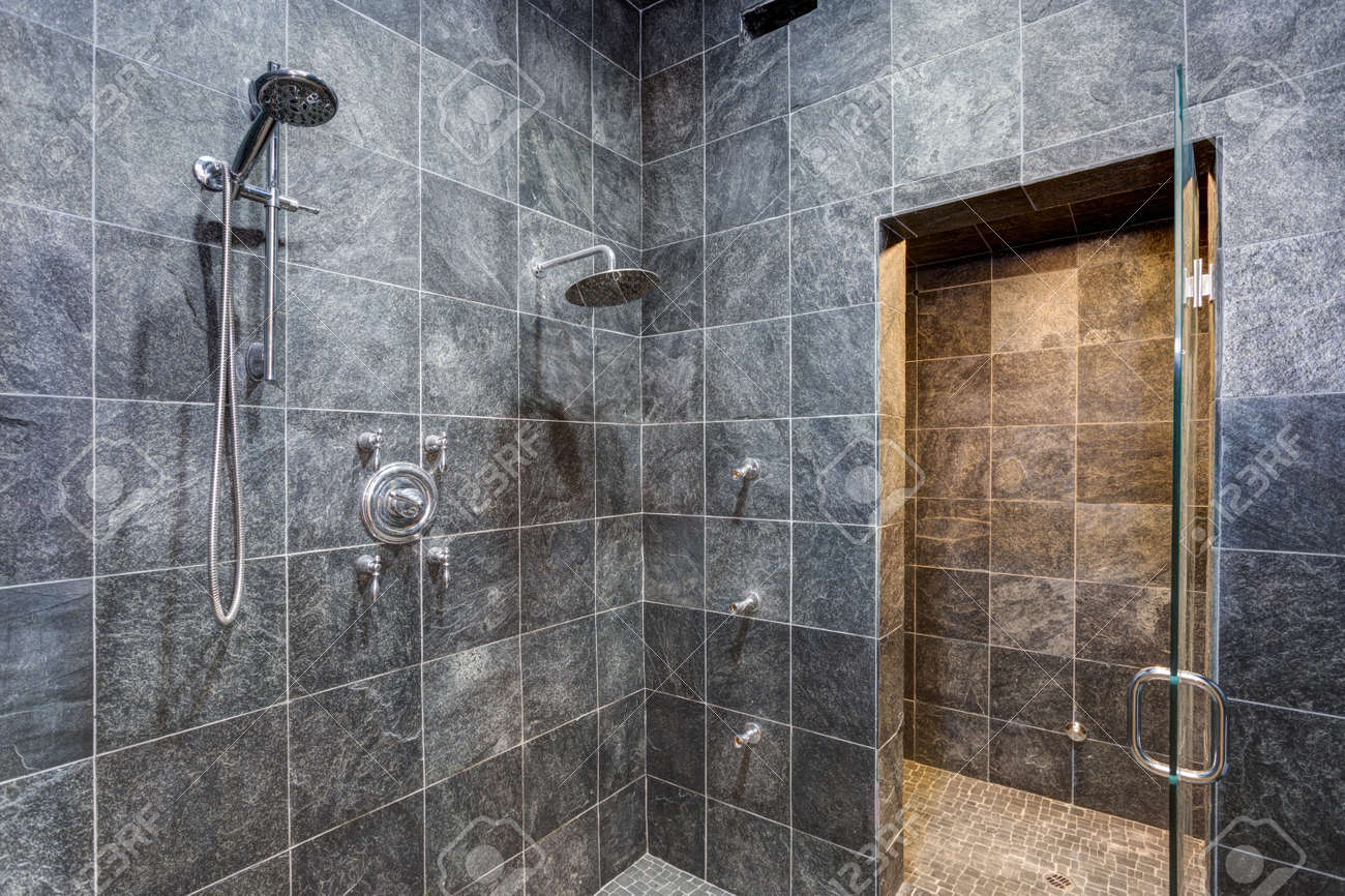 Luxurious Mansion Wet Room Style Shower With Black Square Tiled
