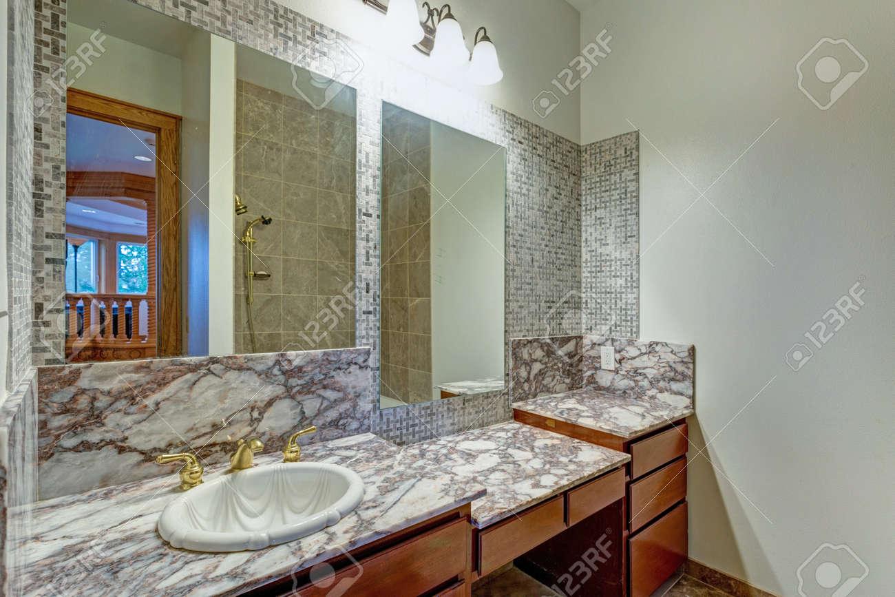 grey bathroom interior in a luxurious castle wedding venue stock rh 123rf com Bathroom Vanity with Makeup Table Single Sink Bathroom Vanity with Makeup Area
