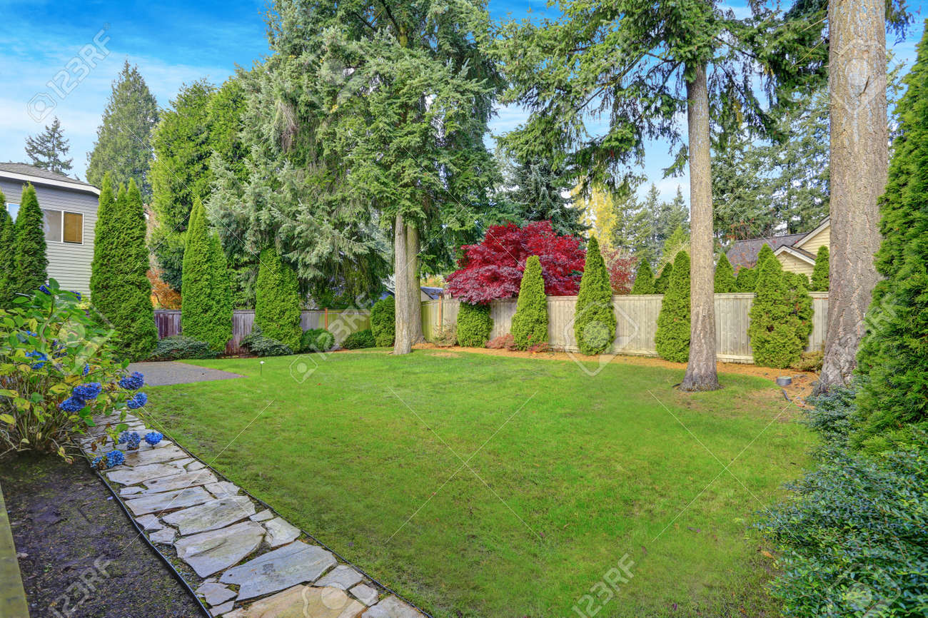 Beautiful Garden Landscape Design With Well-maintained Lush Lawn ...