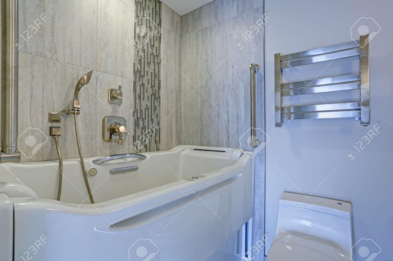 Contemporary Bathroom Design Boasts A Luxury Jacuzzi Walk-in.. Stock ...
