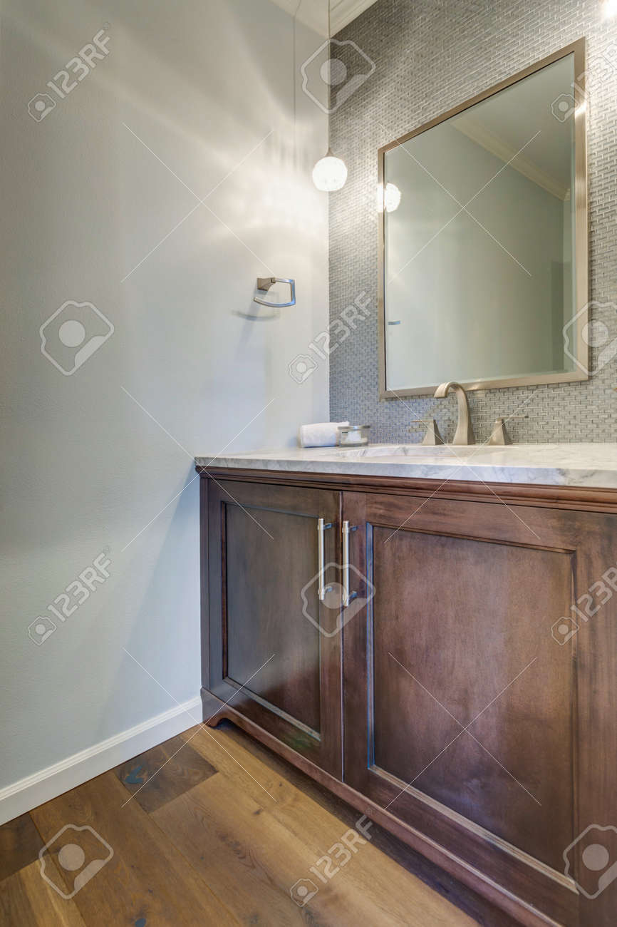 - Modern Bathroom With Rustic Wood Vanity, Marble Countertop And