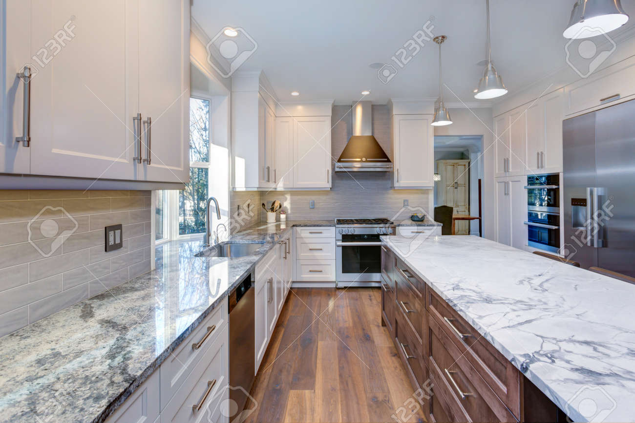 Luxury Home Interior Boasts Amazing White Kitchen With Custom