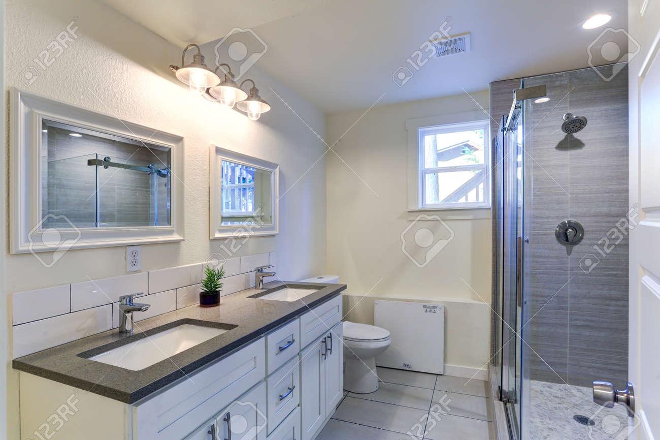 White Bathroom Vanity With Granite Top Double Bath Sinks Double