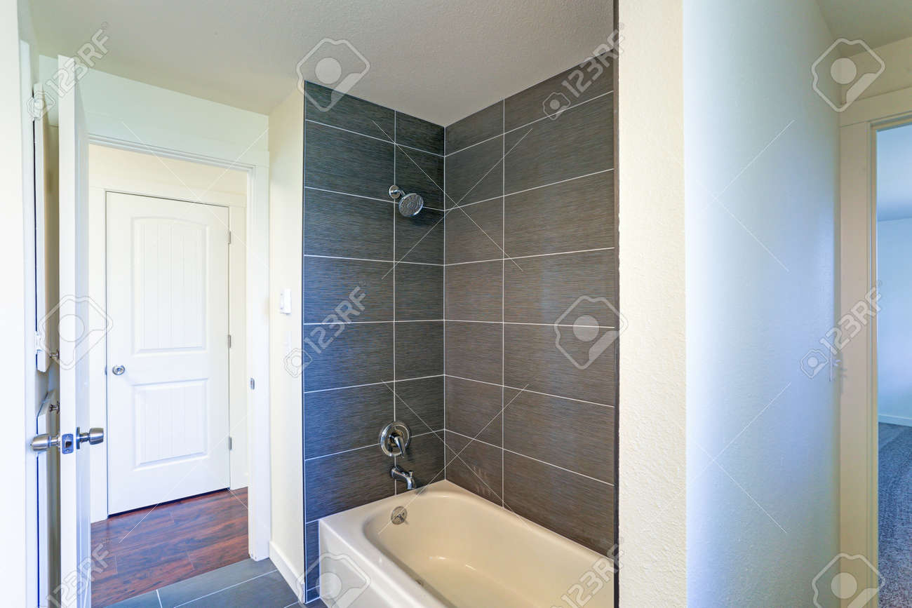 Image Of Bathroom Interior With Tub And Shower Combination ...