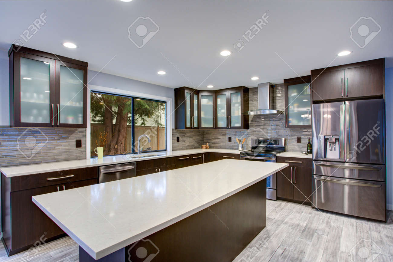 Updated contemporary kitchen room interior with white counters and dark wood cabinets fitted with luxury stainless steel appliances. - 96303163