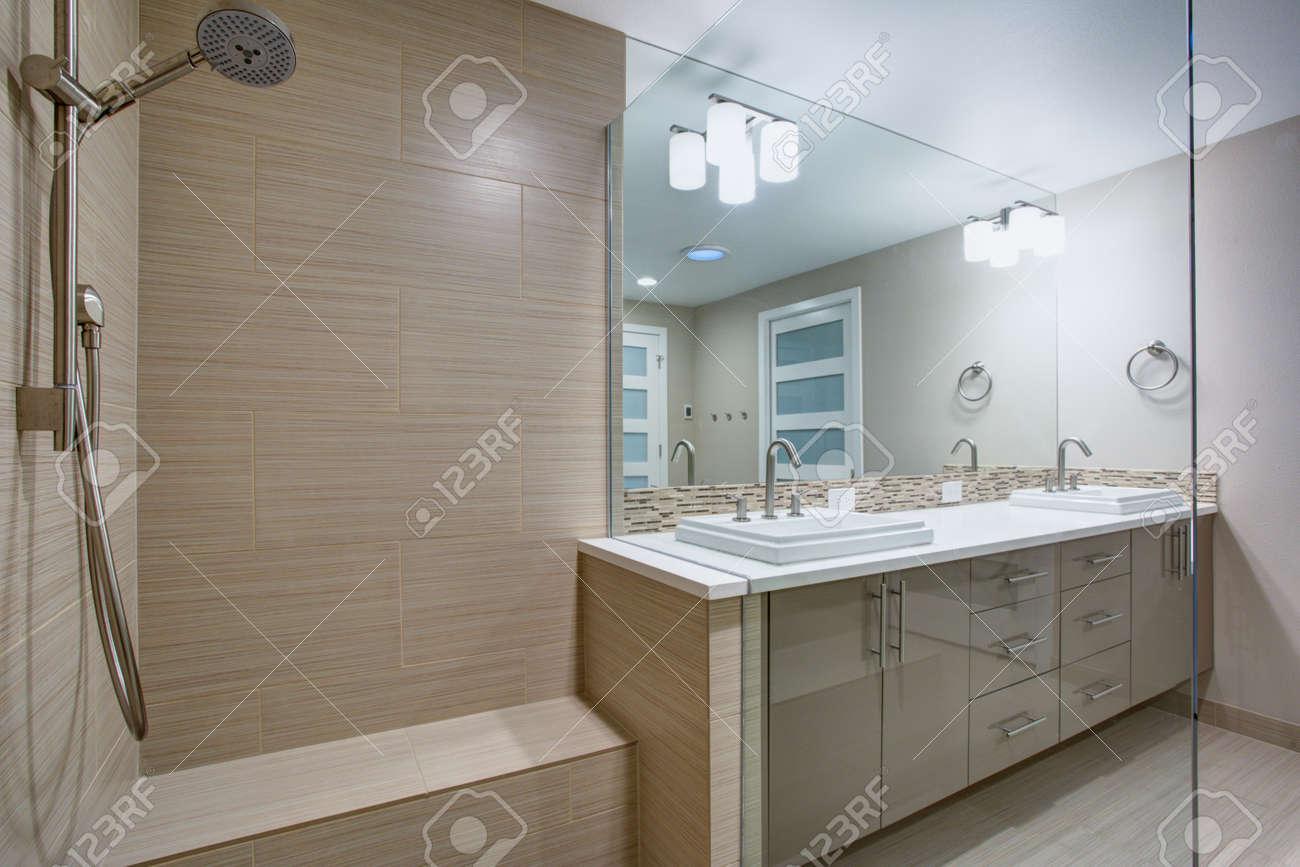 Modern Refreshing Bathroom Features A Walk In Shower With Beige