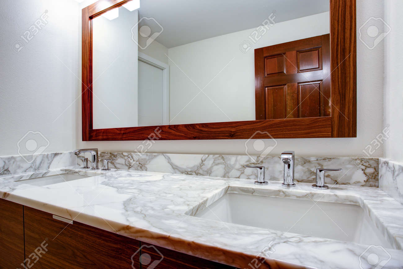 Sleek Bathroom Features Double Bathroom Cabinet Vanity With White ...