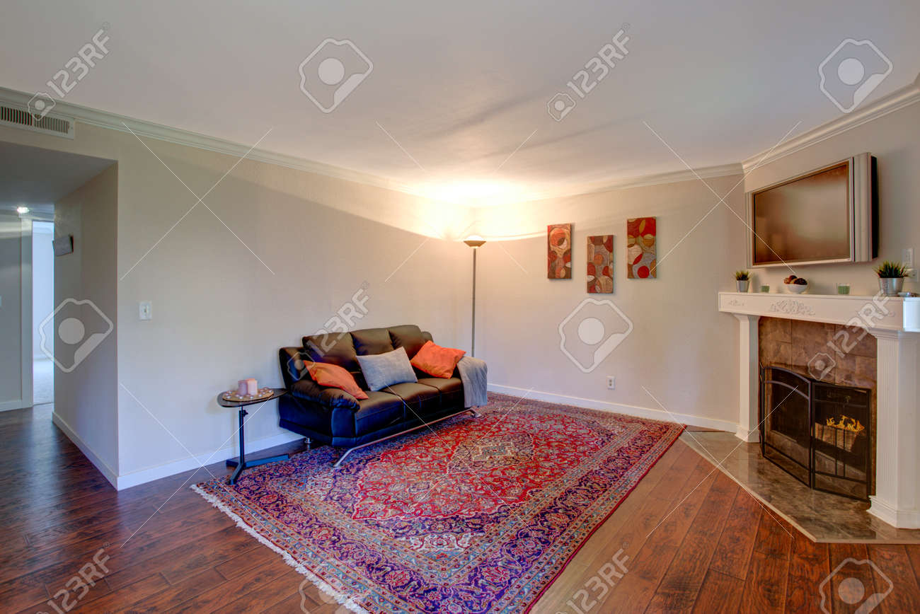 Interior Of A Living Room Features Corner Fireplace With A White Stock Photo Picture And Royalty Free Image Image 95719862