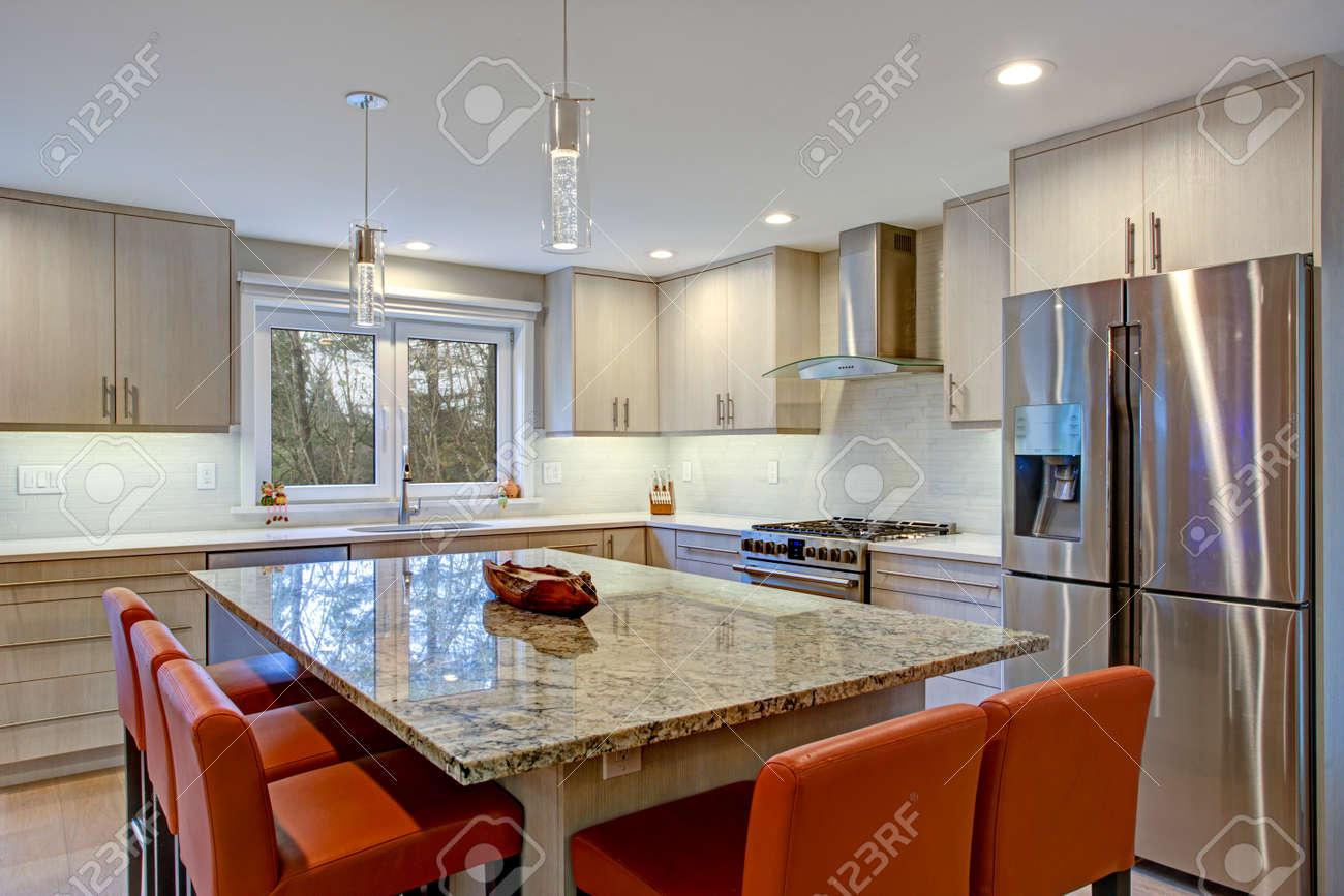 - Gorgeous Kitchen Design Features Ivory Kitchen Cabinets Flanking