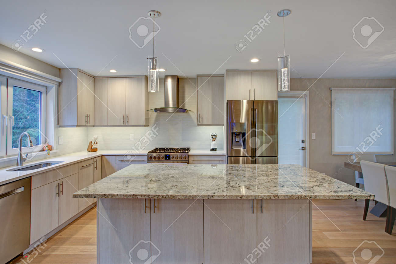Lovely Kitchen Room Interior Features Ivory Cabinets Accented Stock Photo Picture And Royalty Free Image Image 96697133