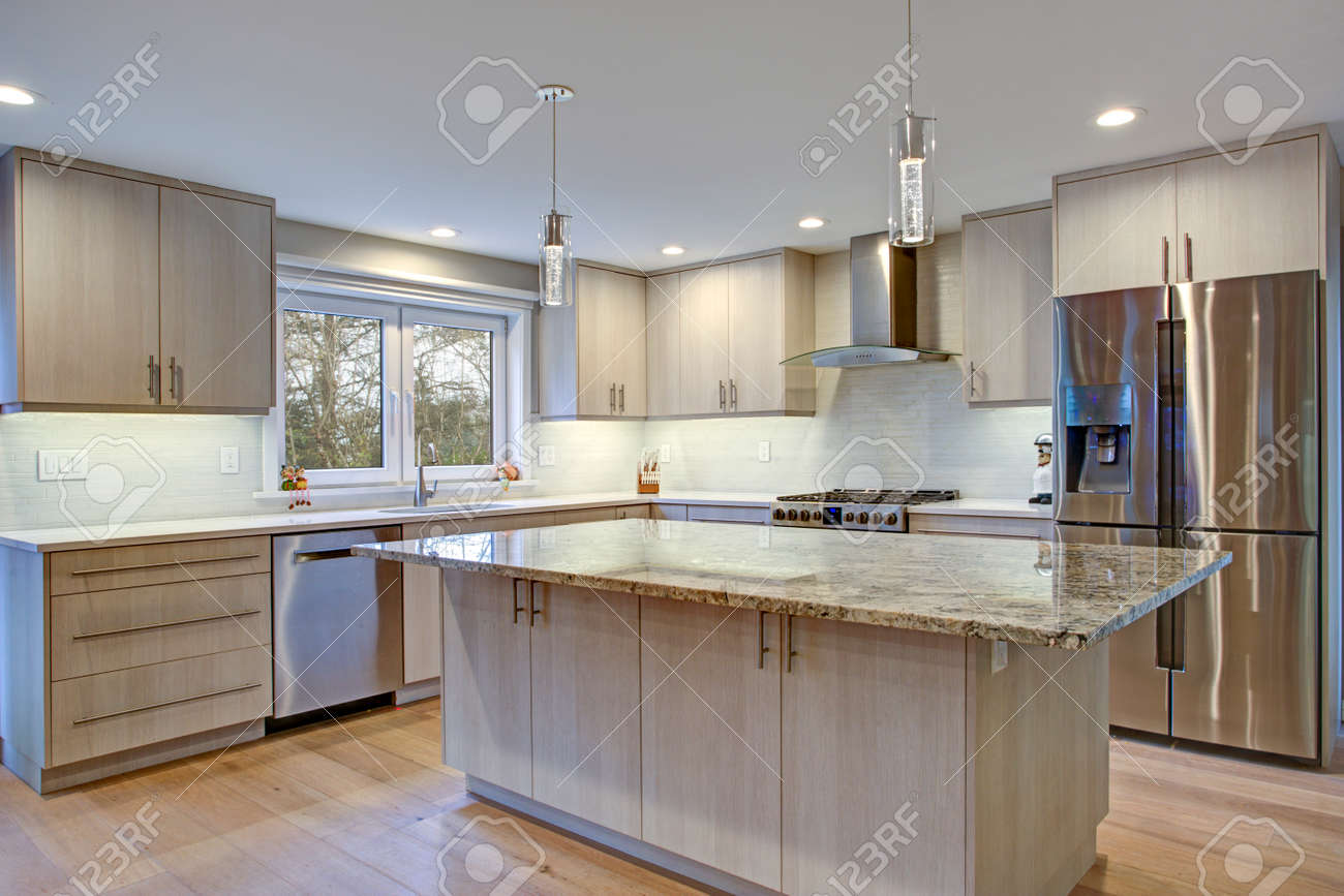 Lovely Kitchen Room Interior Features Ivory Cabinets Accented
