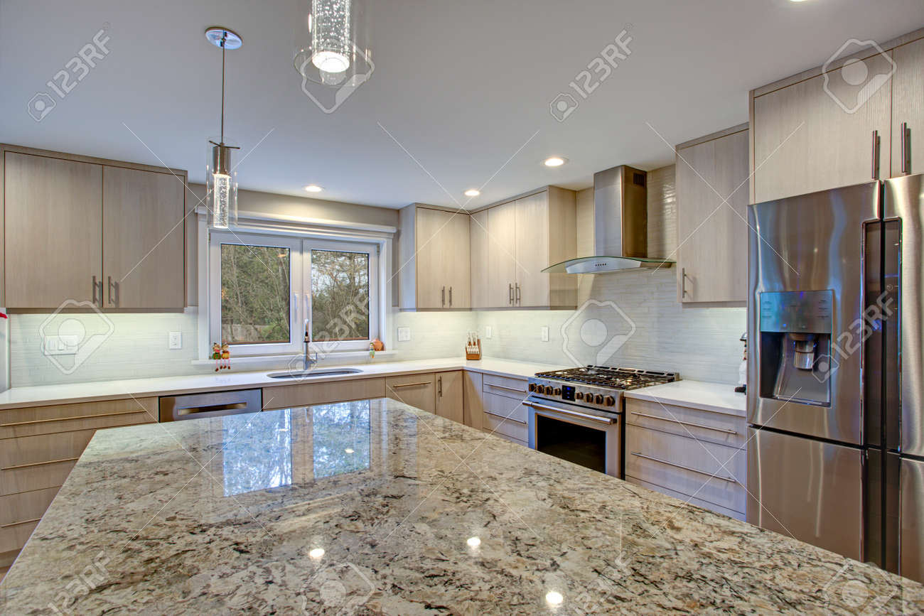 Lovely Kitchen Room Interior Features Ivory Cabinets Accented Stock Photo Picture And Royalty Free Image Image 97392297