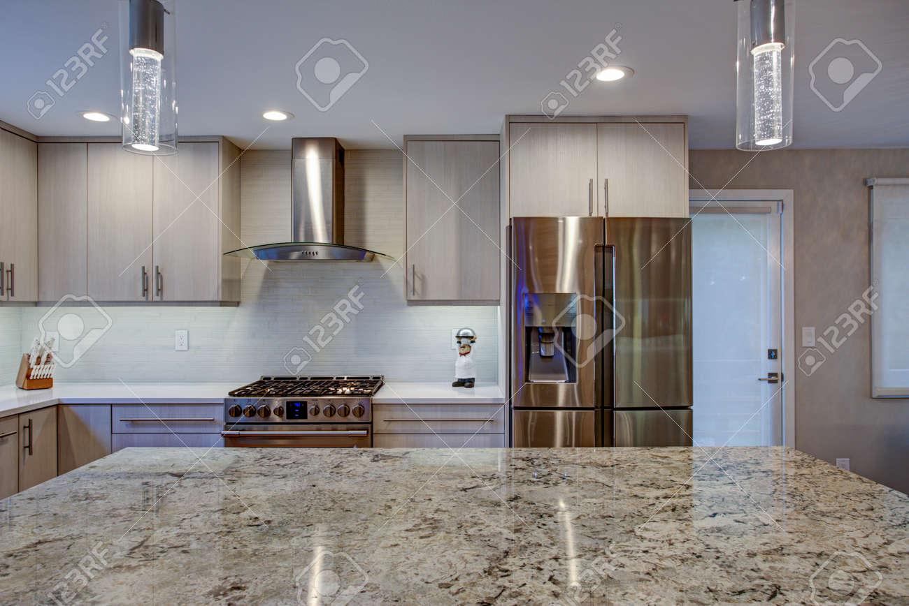 - Lovely Kitchen Room Interior Features Ivory Cabinets Accented