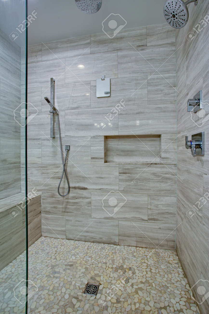 Perfectly Designed Seamless Glass Shower With Grey Marble Tiles Stock Photo Picture And Royalty Free Image Image 97392476