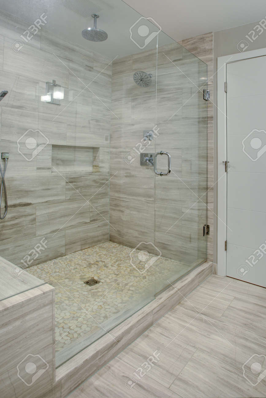 Perfectly Designed Seamless Glass Shower With Grey Marble Tiles Stock Photo Picture And Royalty Free Image Image 97392479