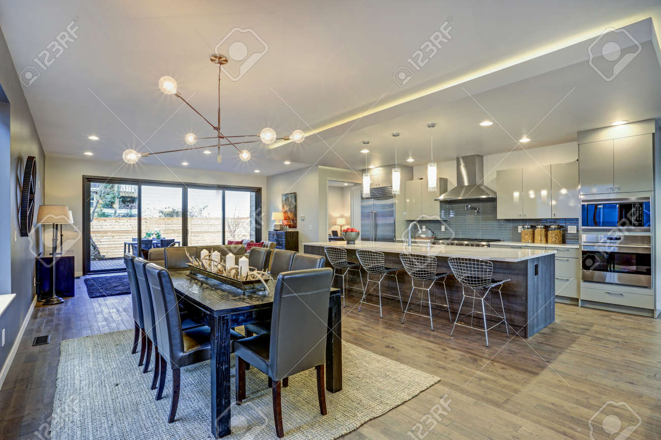Sleek Modern Kitchen Design With A Large Kitchen Peninsula And Stock Photo Picture And Royalty Free Image Image 97874024