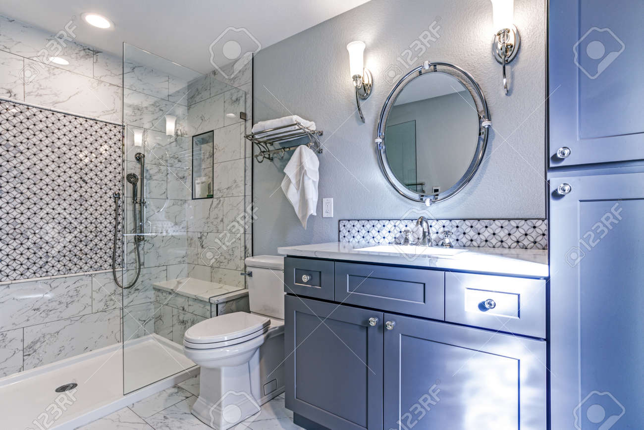 Luxury Bathroom Design With Marble Shower Surround And Mosaic ...