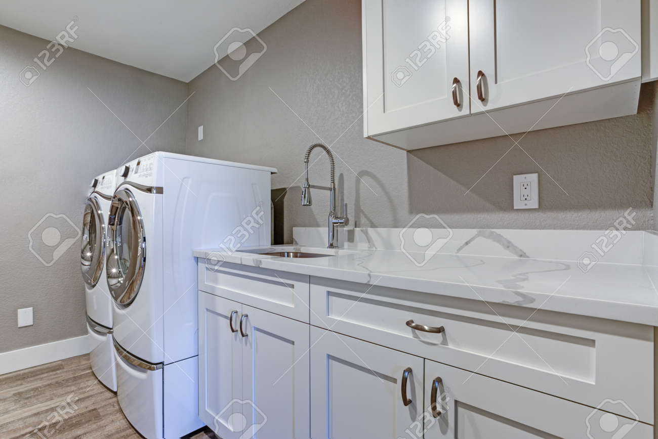 Superb Laundry Room With Taupe Walls White Cabinets And Marble Top Interior Design Ideas Gentotryabchikinfo