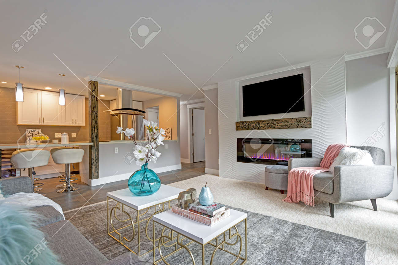 Light And Bright Family Room With Open Floor Plan In Modern Apartment Stock Photo Picture And Royalty Free Image Image 104976995