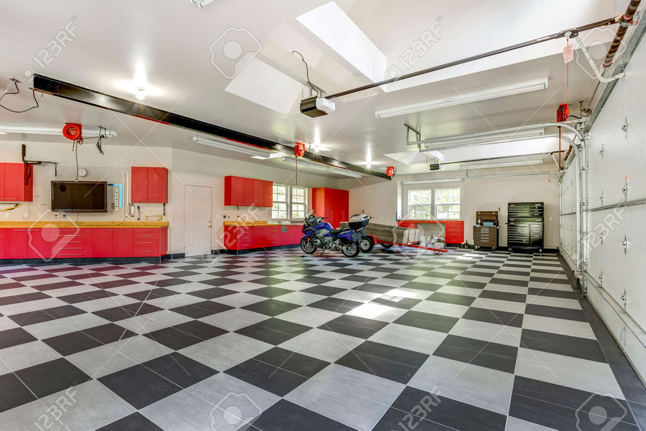 Spacious Modern Garage Interior With Checkerboard Floor And Red Stock Photo Picture Royalty Free Image 107897677