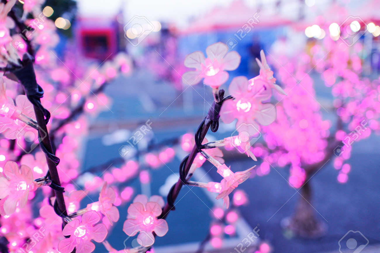 Some Lovely Shiny Pink Artificial Flowers Lights Stock Photo