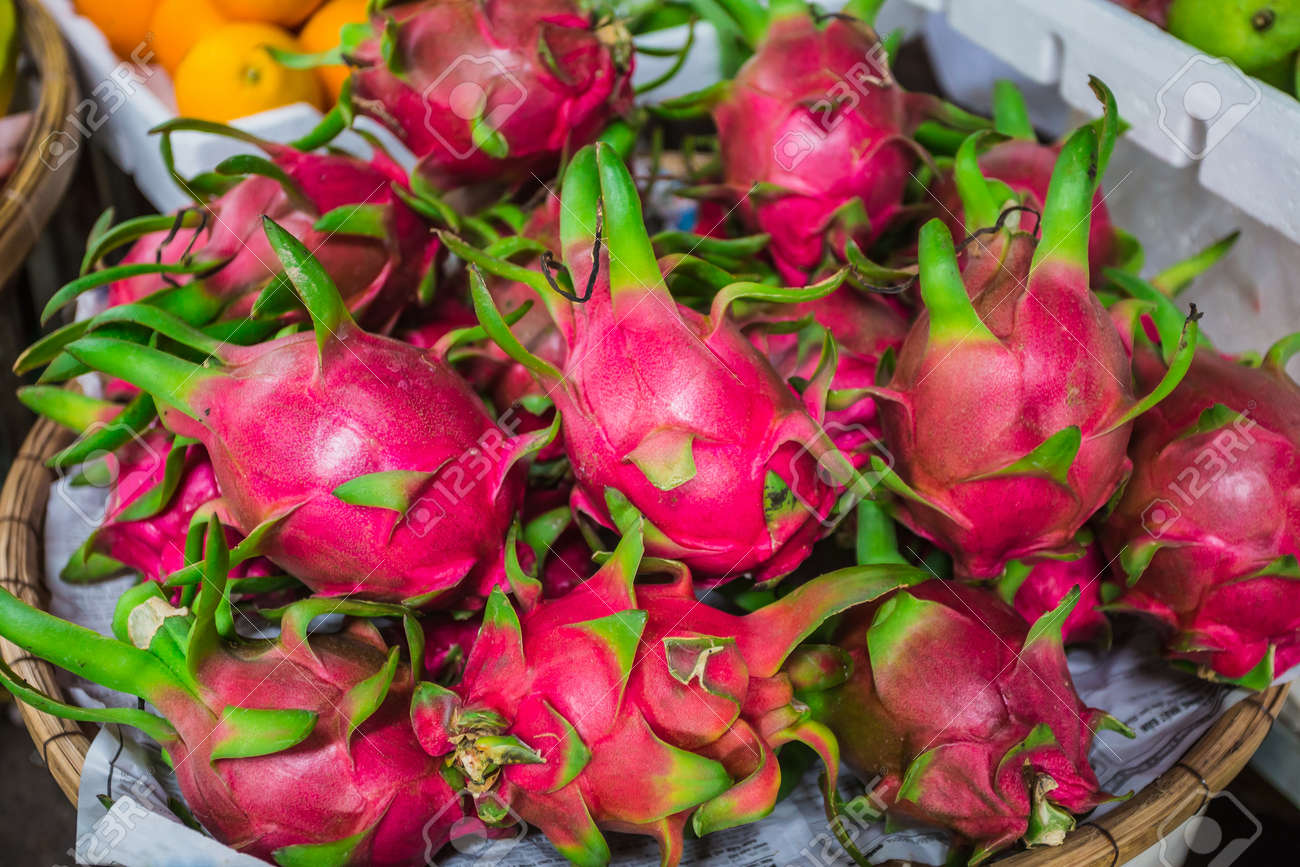 Dragon Fruit, Pitaya (geow Mangon) Fruits Of Vietnam And Thailand Stock  Photo Dragon