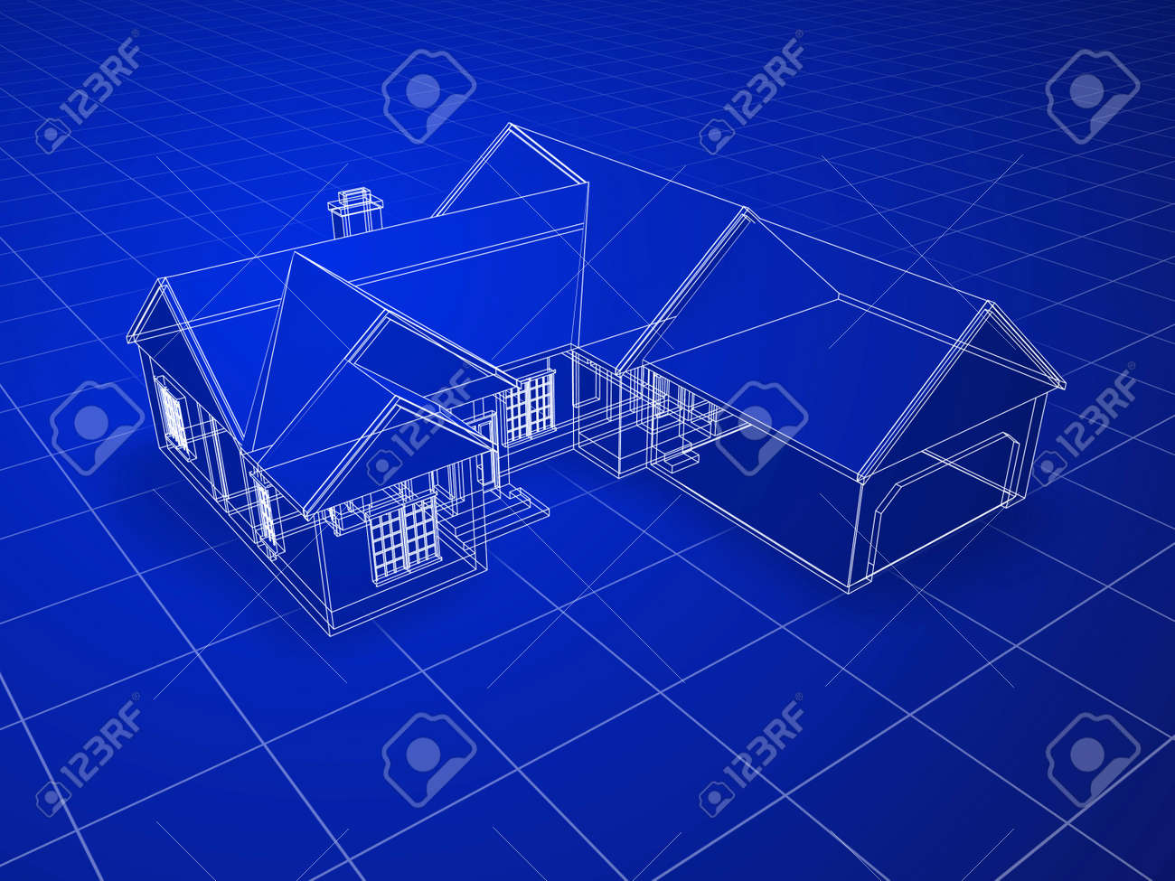House blue print blueprint style 3d rendered house white outlines on blue background