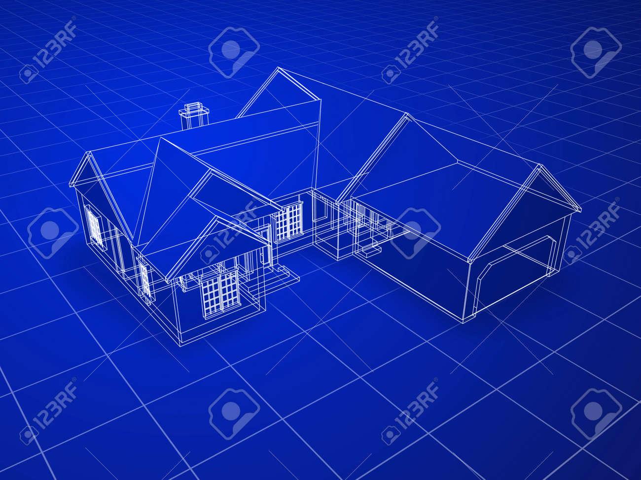 Blueprint style 3d rendered house white outlines on blue blueprint style 3d rendered house white outlines on blue background stock photo 14637119 malvernweather Images