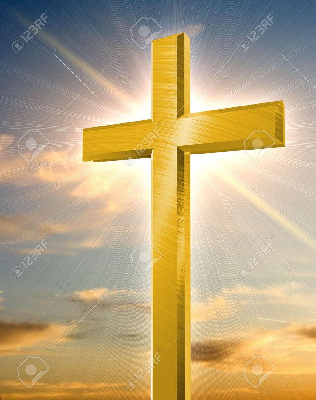golden cross shining in front of orange sunset Stock Photo - 14636883
