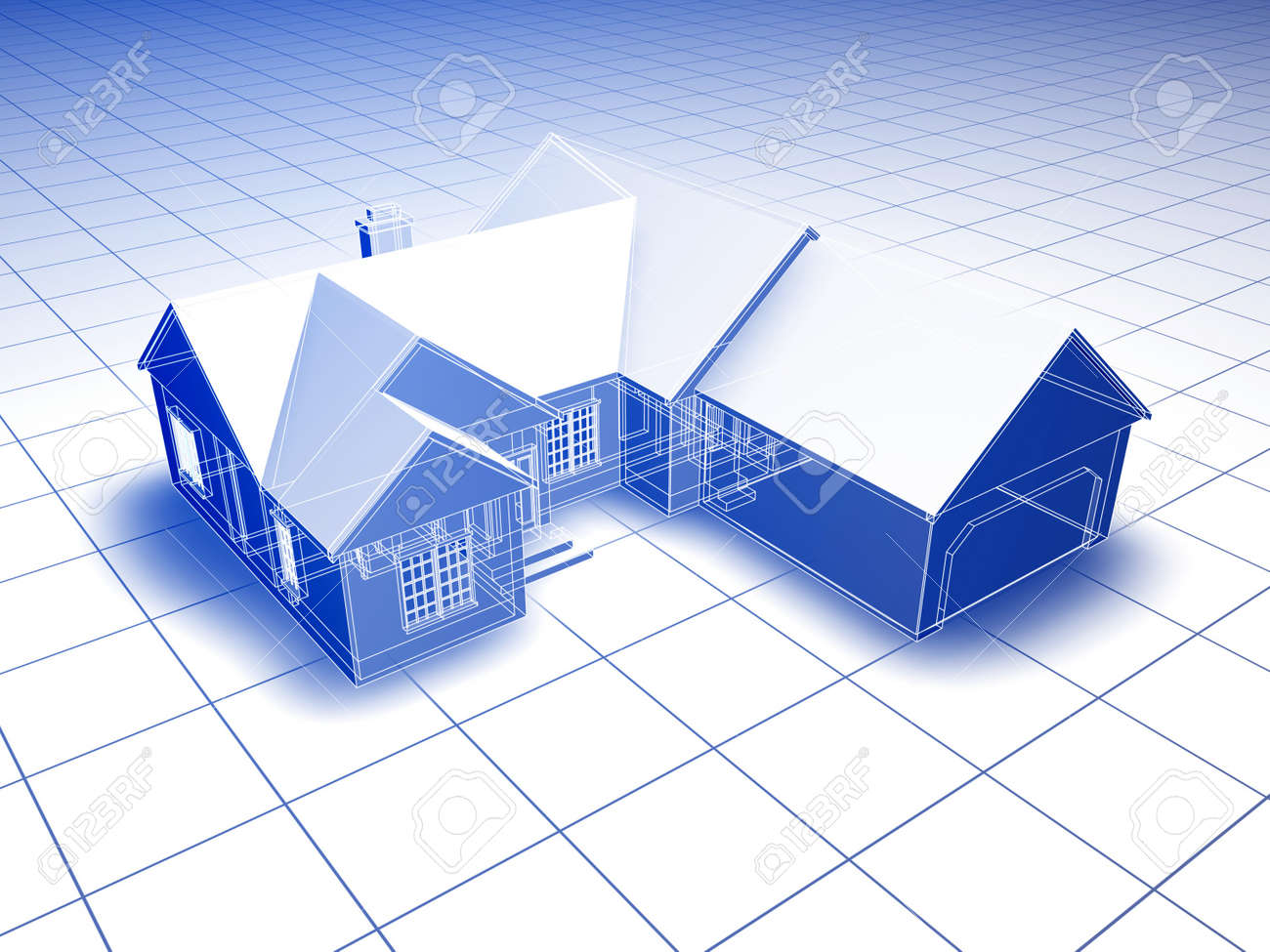 Captivating Blueprint Style 3D Rendered House. Blue Shading On White Background. Stock  Photo   14636834