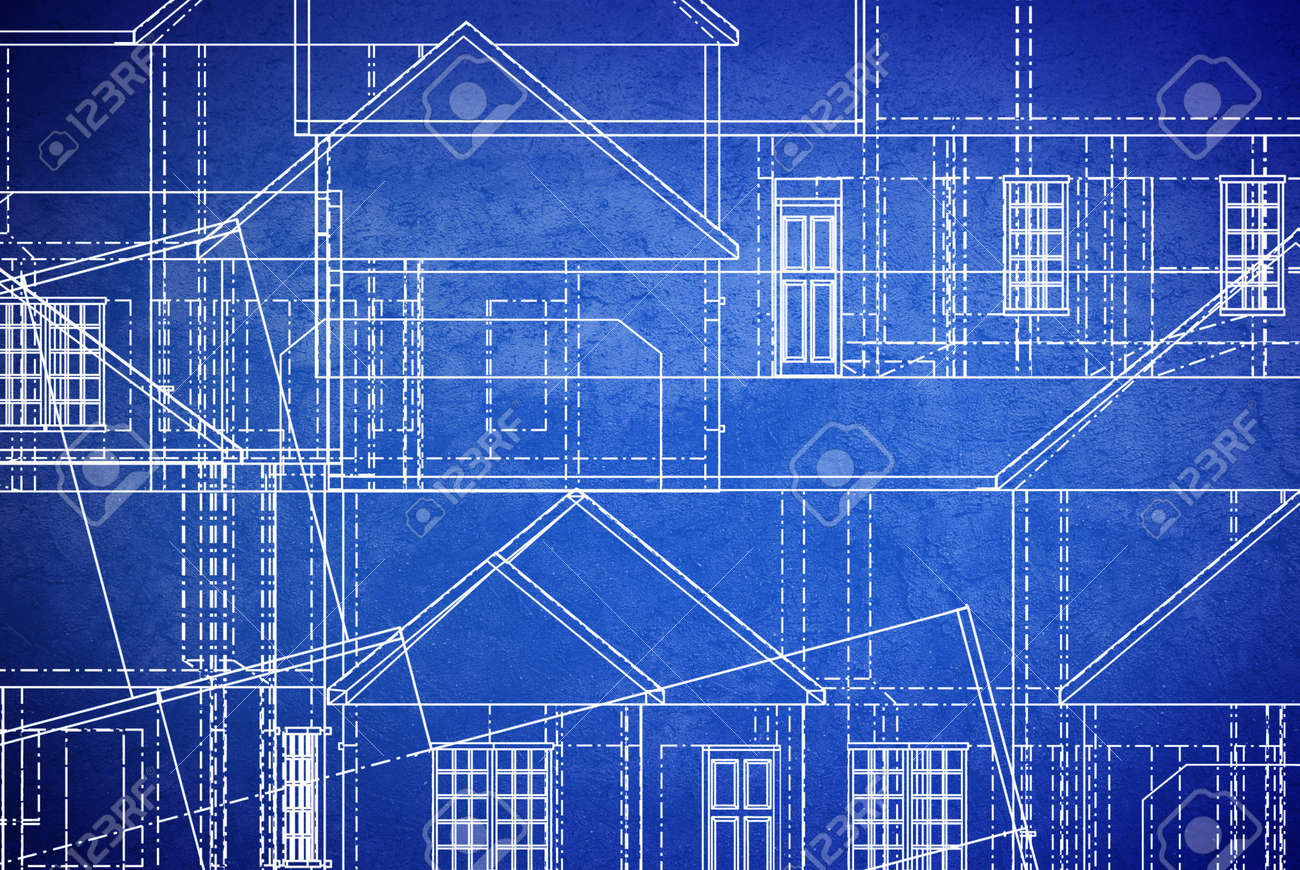 Blue Print Style Floor Plan Lines On Grunge Background Stock Photo    14636772