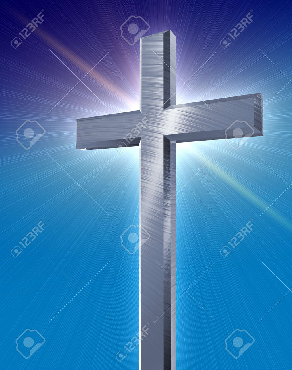 holy silver cross casting a blue burst in front of a blue gradient background Stock Photo - 14636769