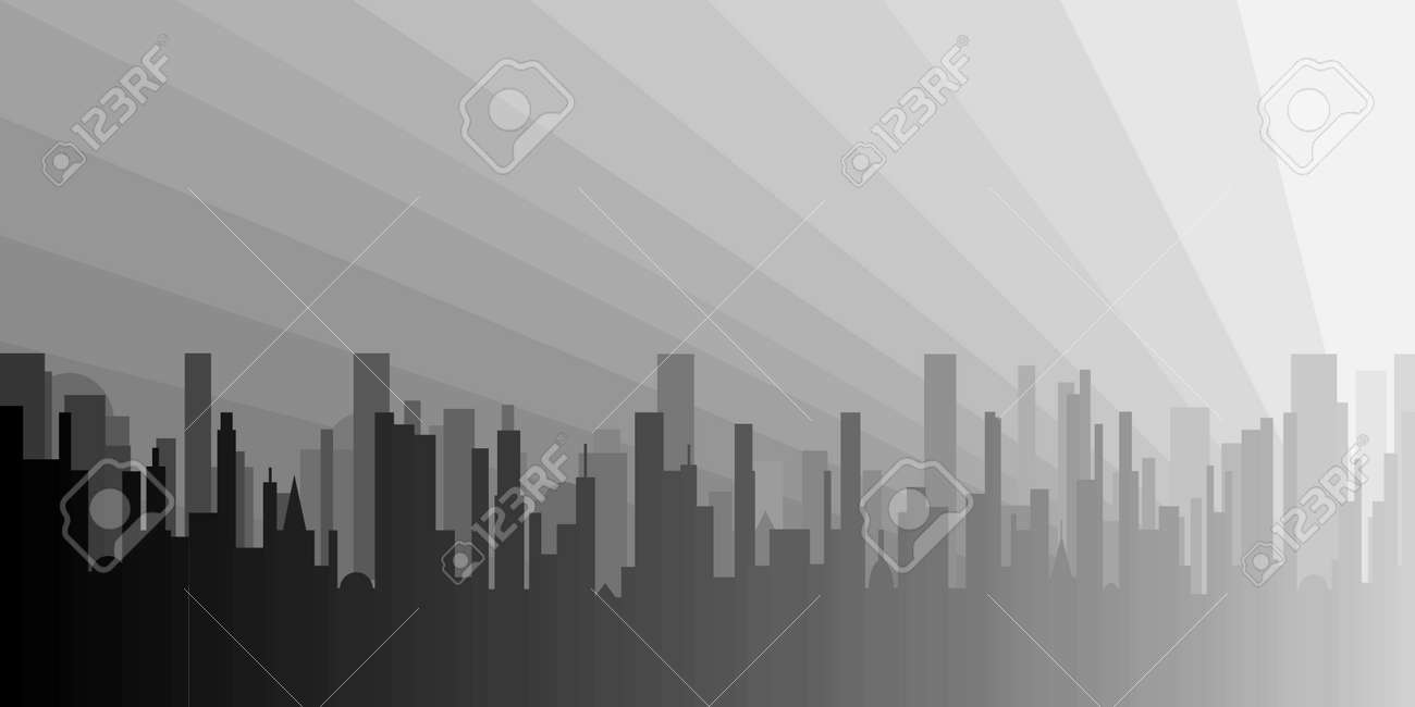 A grey cityscape with the dawn trying to peep through Stock Vector - 15189903