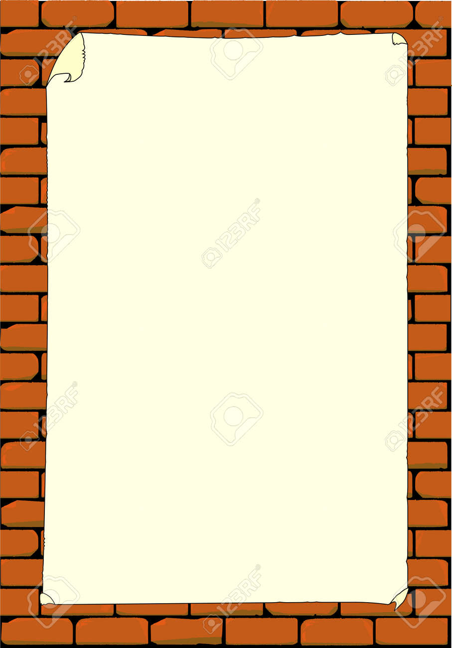 A Brick Wall With Blank Paper Poster The Bricks In Are All