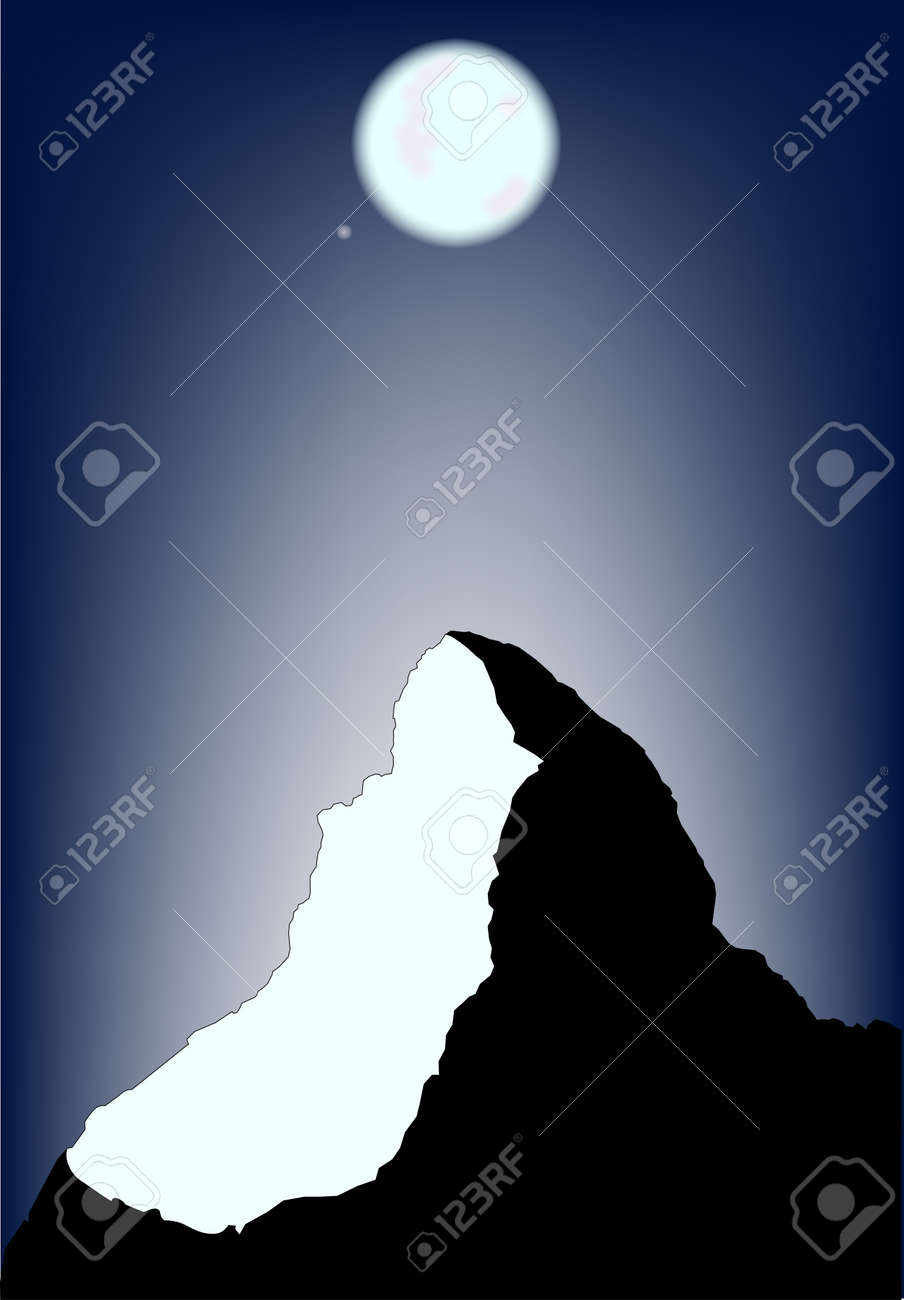 A view of the Matterhorn on a full moon. Stock Vector - 15089577