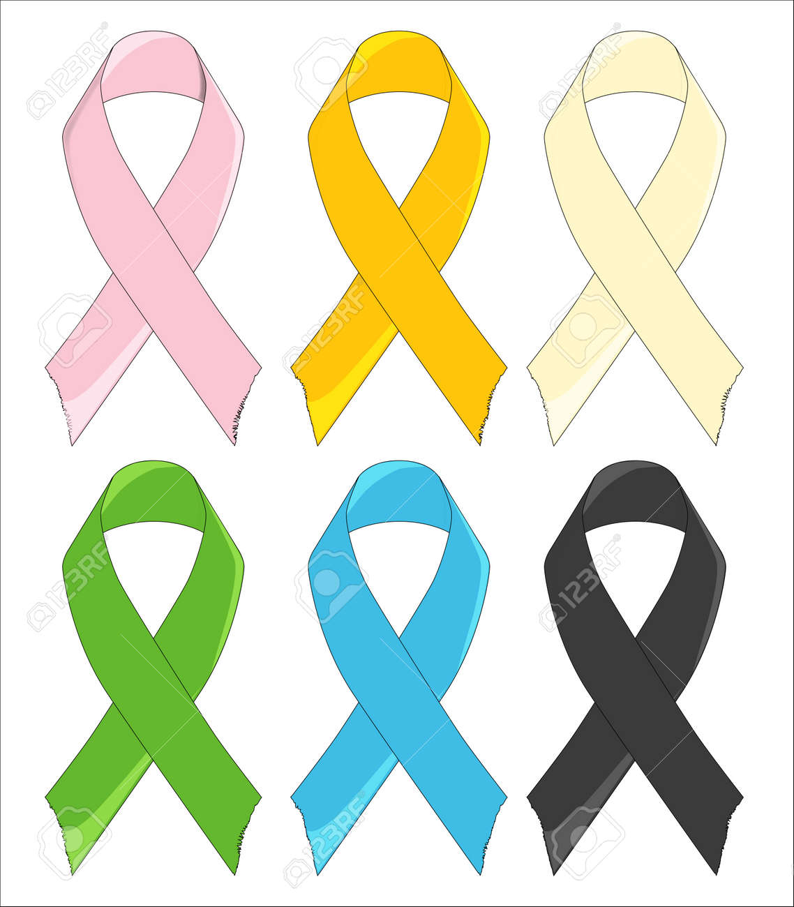 Six Awareness Ribbons Stock Vector - 15974008
