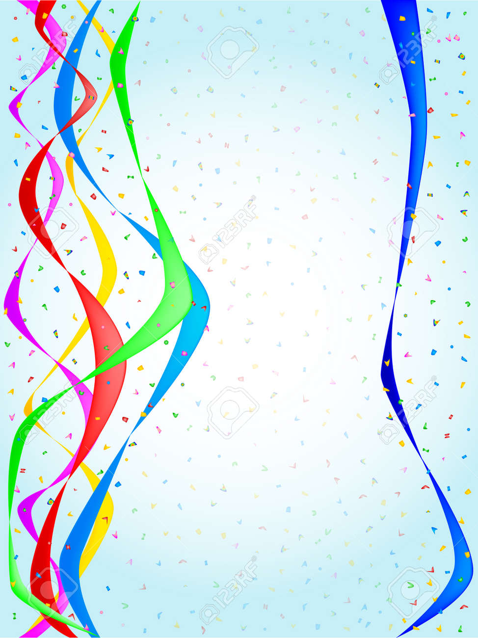 Multi coloured confetti and streamers, a party image - 16246223