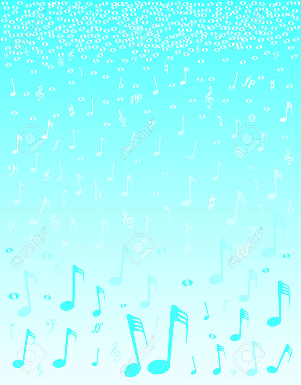 A selection of musical notes and symbols falling as if snow Stock Vector - 16351995