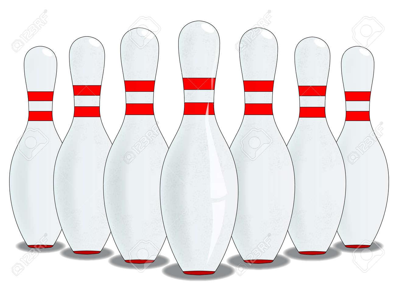 A ten pin skittle set up isolated on white. Stock Vector - 17587101