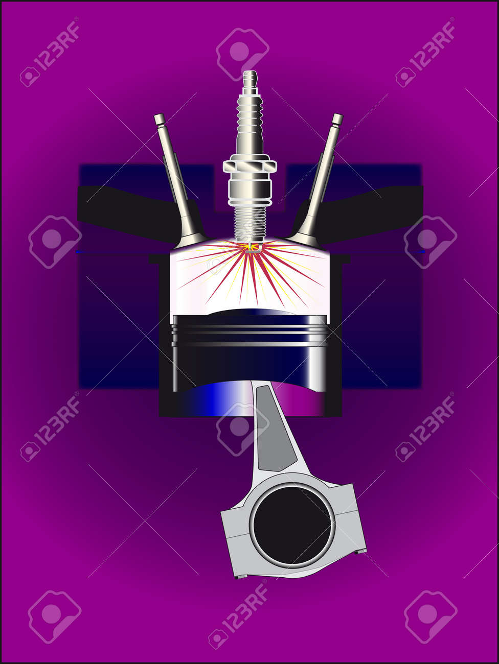 An abstract four stroke petrol engine Stock Vector - 17801243