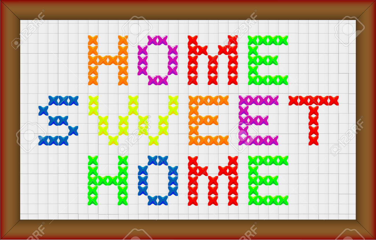 A Cross Stitch Home Sweet Home With Frame Border Royalty Free
