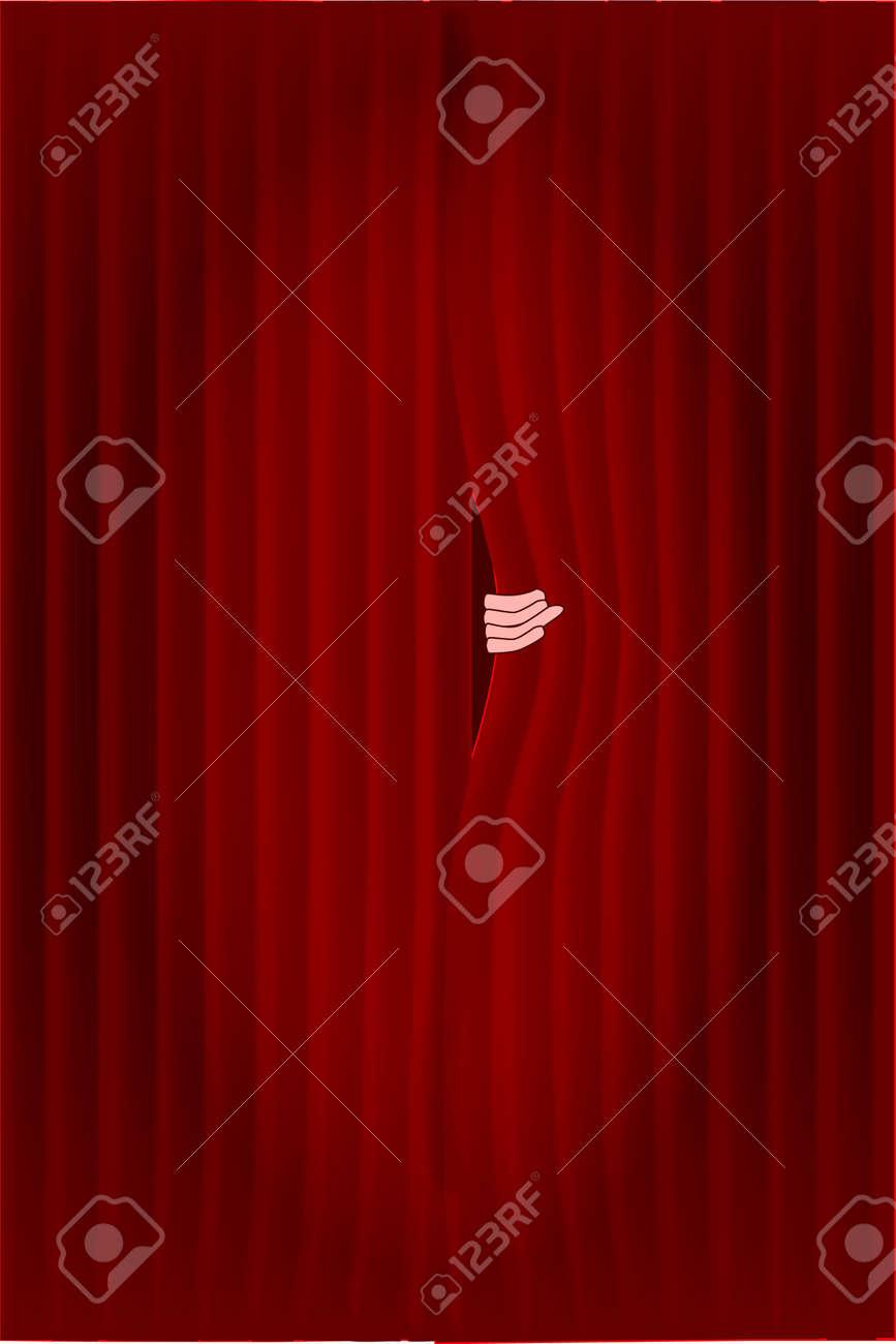 oscuras cortinas rojas con un centro de atencin se puuled ligeramente abierta por una mano foto - Cortinas Rojas