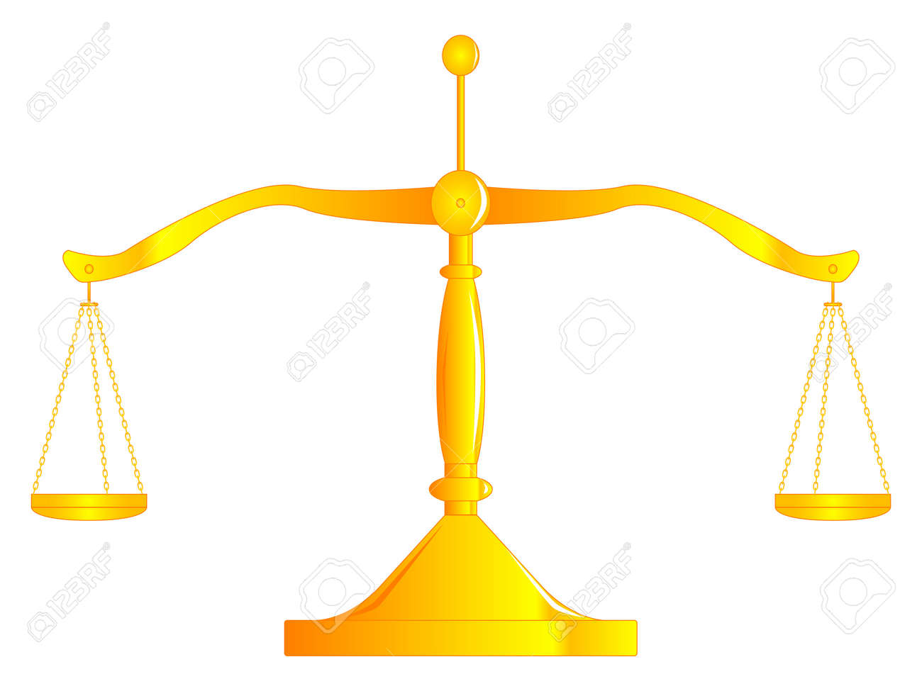 A pair of scales perfectly balanced, isolated over white. Stock Vector - 20246244
