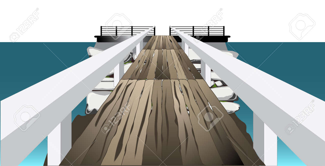 A footbridge or landing crossing to a stone island Stock Vector - 22766215