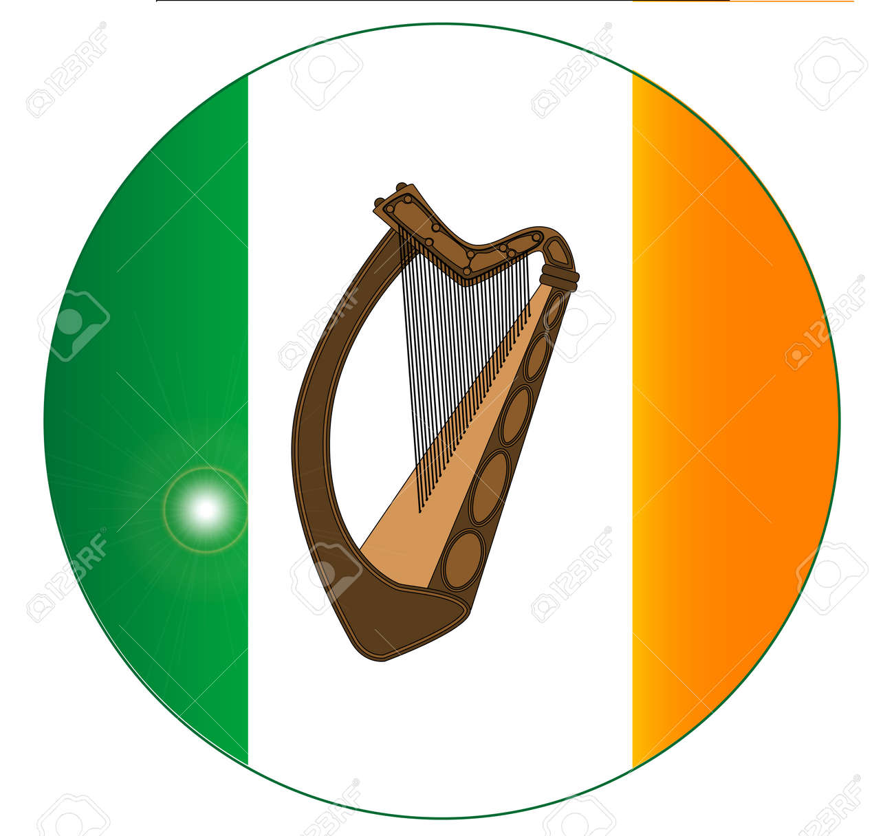 the flag of ireland with an added irish harp in the centre on