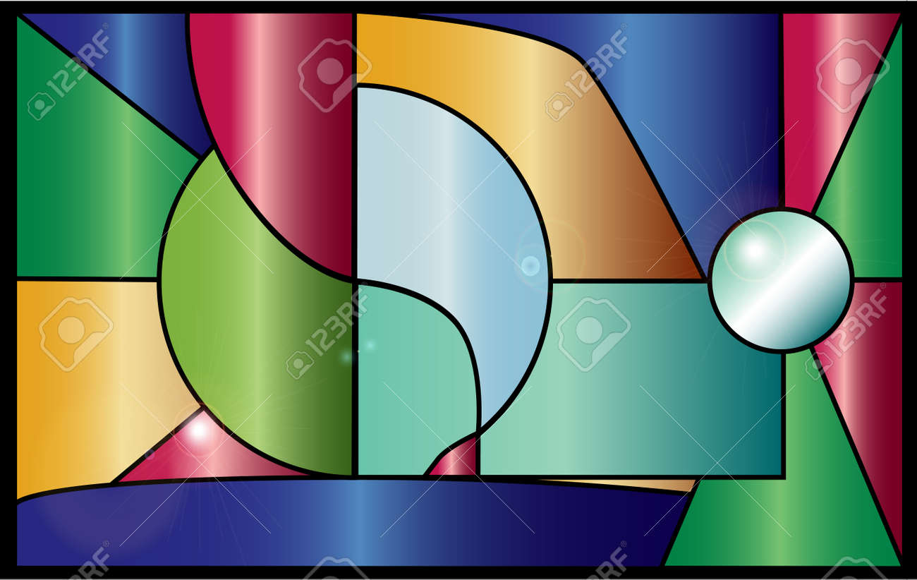 Modern style stained glass window with reflections Stock Vector - 24097453