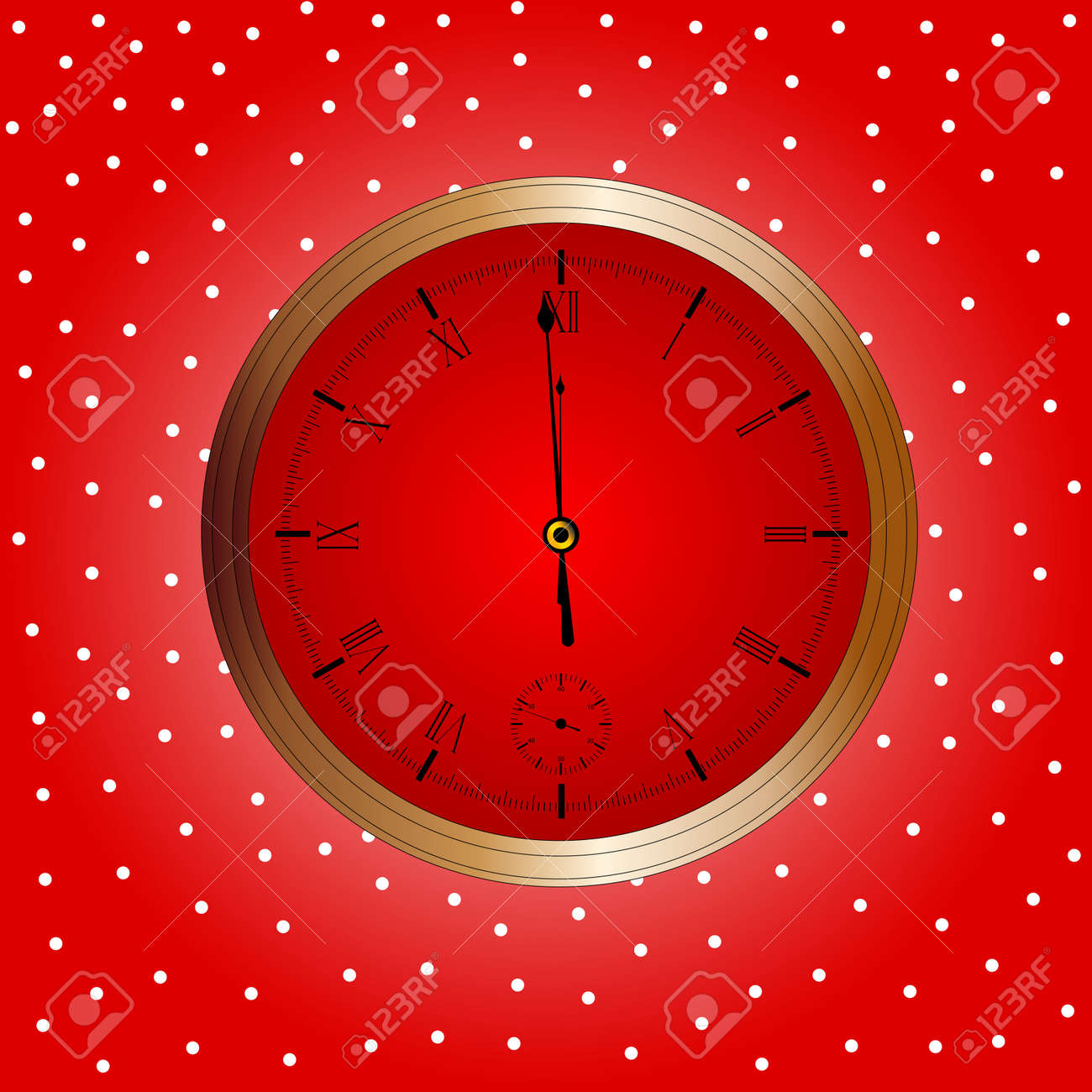 A Christmas and New Year clock showing almost midnight Stock Vector - 24231995