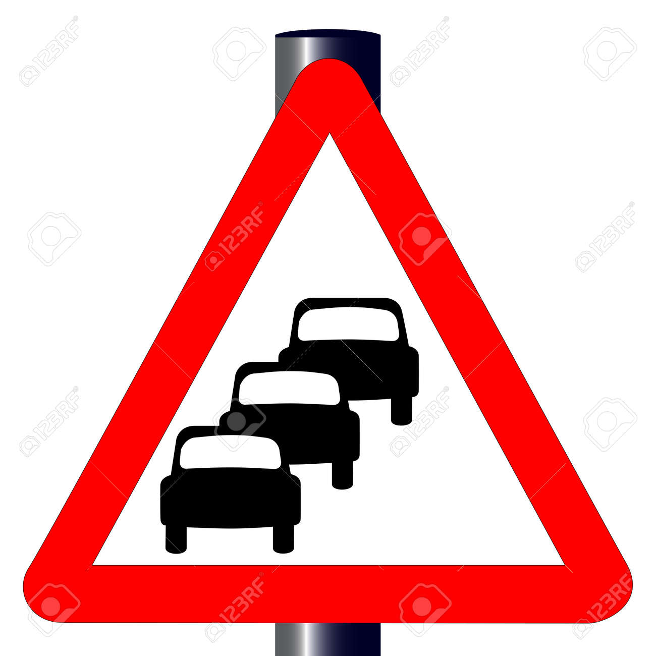 The traditional  QUEUING  triangle, traffic sign isolated on a white background Stock Vector - 24250176